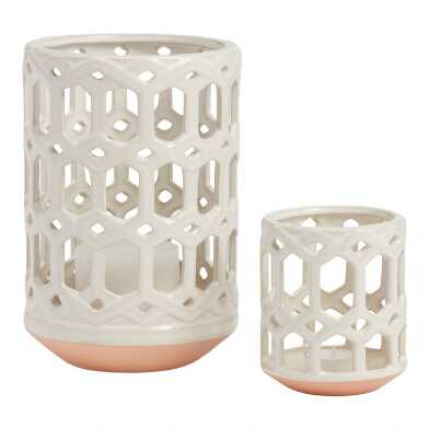 Ivory Ceramic Lattice Hurricane Candleholder