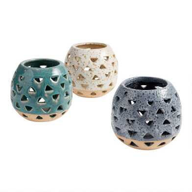 Two Tone Ceramic Cutout Hurricane Candleholder