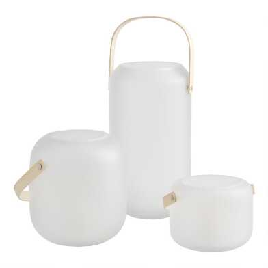 White Frosted Glass Lantern with Wood Handle