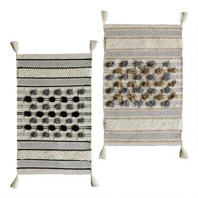 Geometric Cotton and Wool Tuft Area Rug