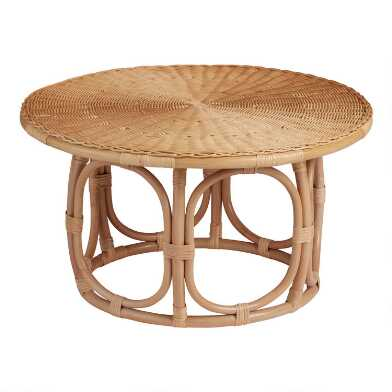 Round Natural Rattan Coffee Table