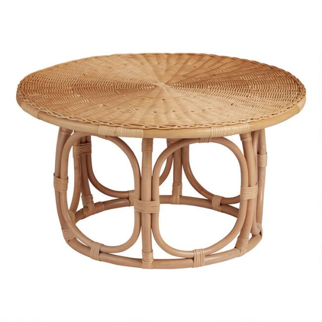 Round Natural Rattan Coffee Table, Rattan Coffee Table Round