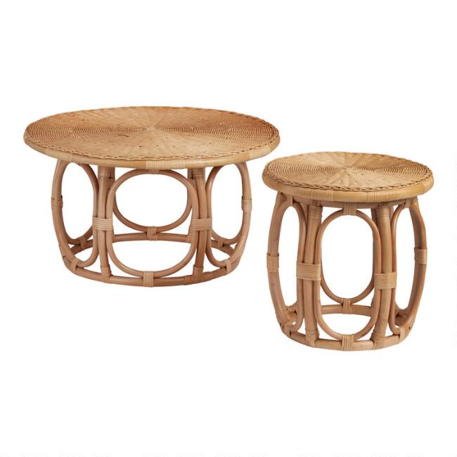 Round Natural Rattan Table Collection