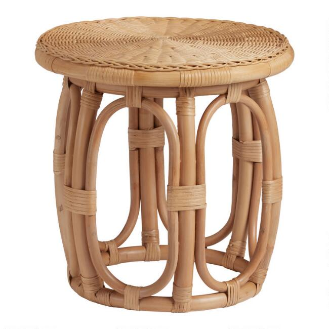 Round Natural Rattan Accent Table