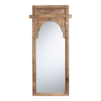Natural Carved Wood Full Length Mirror