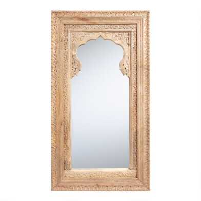 Large Natural Carved Wood Full Length Mirror