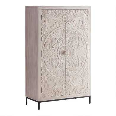 Large Whitewash Carved Wood Floral Monterey Storage Cabinet