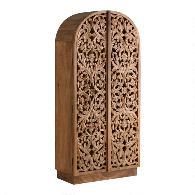Arched Natural Floral Carved Wood Avni Storage Cabinet