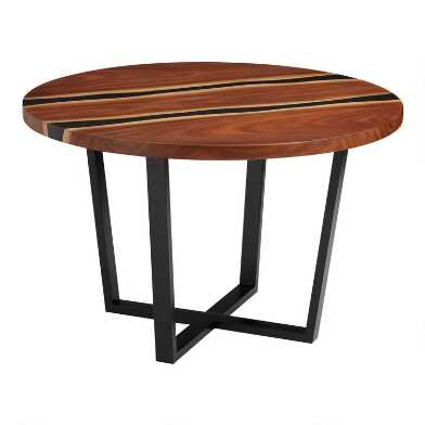 Round Live Edge Wood and Resin Cailen Dining Table