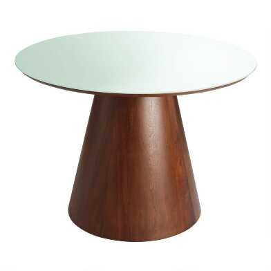 Round Frosted Glass Top Ophelia Dining Table