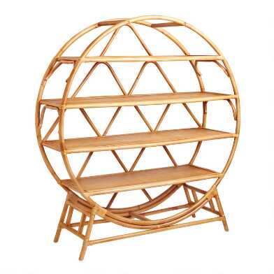 Round Natural Rattan Nylah Bookcase