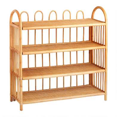 Wide Natural Rattan Nylah Bookshelf