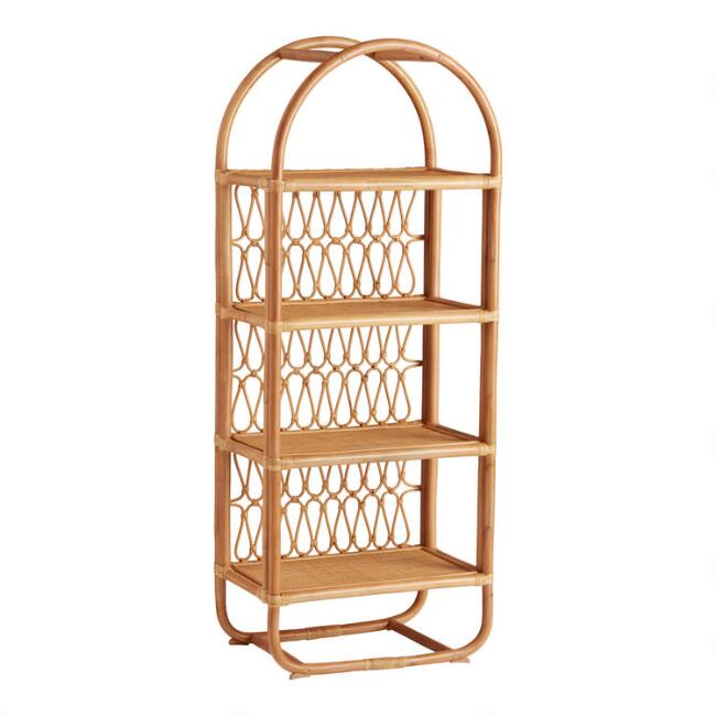 Tall Natural Rattan Arched Nylah Bookcase