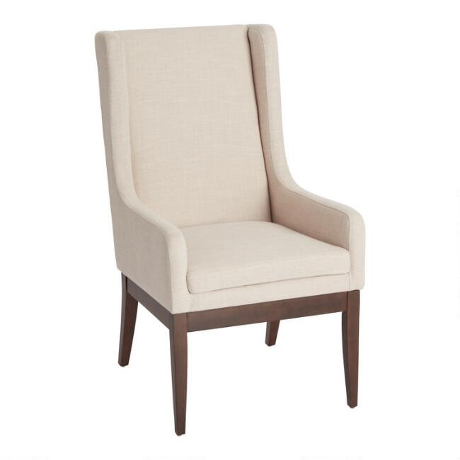 Ivory Dexter Wingback Upholstered Dining Armchair