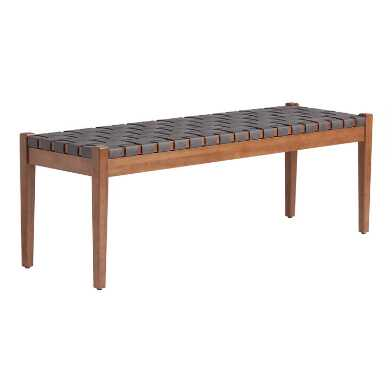 Dark Gray Faux Suede Strap Camden Dining Bench