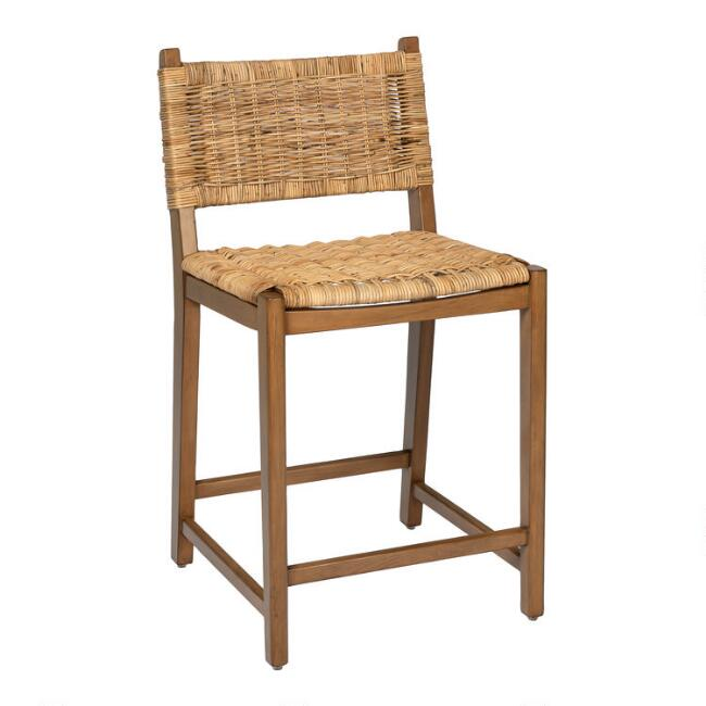 Natural Rattan and Wood Amolea Counter Stool