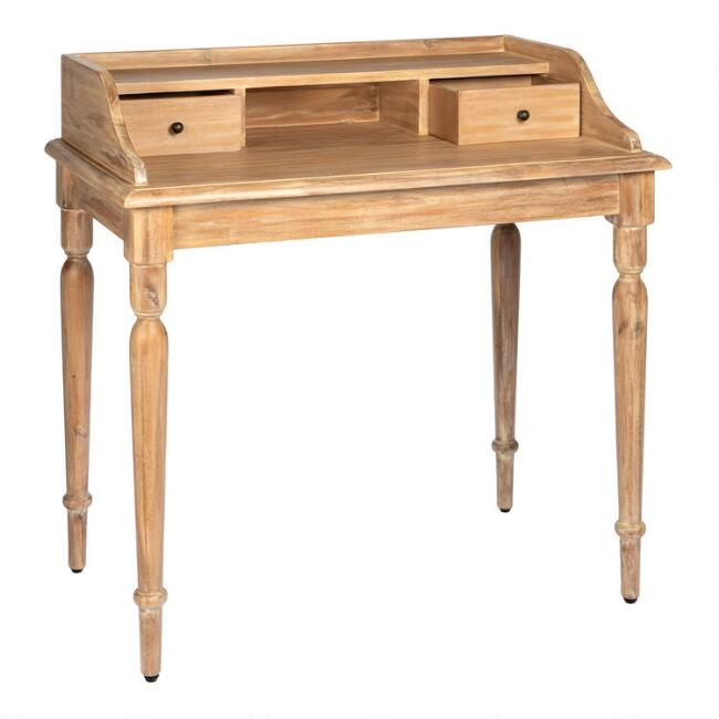 Weathered Natural Wood Everett Secretary Desk