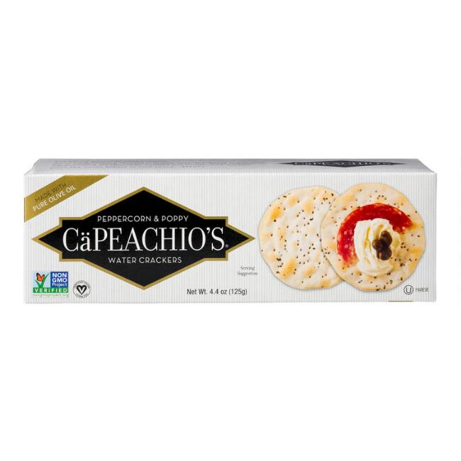CaPeachio's Peppercorn and Poppy Seed Crackers Set of 2