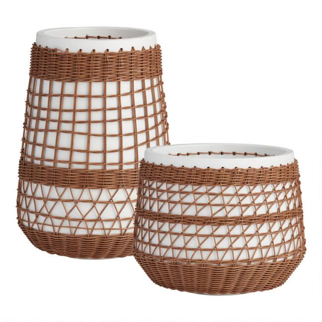 All Weather Wicker Overlay Meagan Outdoor Planter