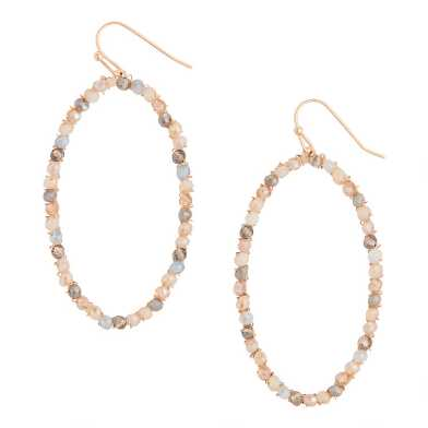 Gold And Blush Glass Beaded Hoop Earrings