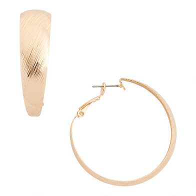 Wide Gold Etched Hoop Earrings