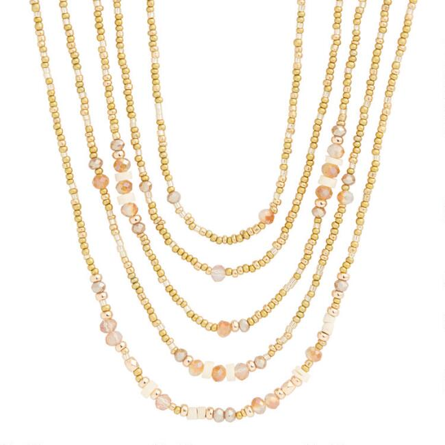 Gold And Acrylic Seed Bead Multi Strand Necklaces 5 Pack