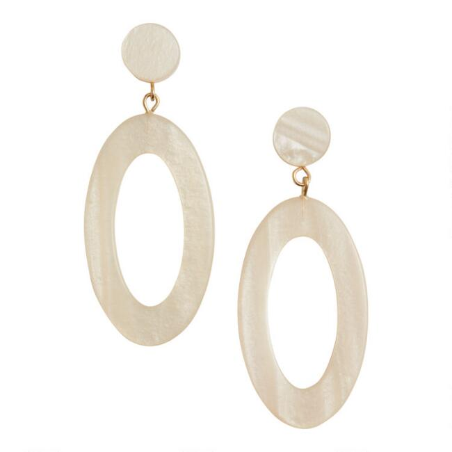 Ivory Acrylic Oval Drop Earrings