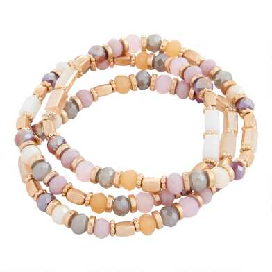 Multicolor Acrylic And Glass Beaded Stretch Bracelets 3 Pack