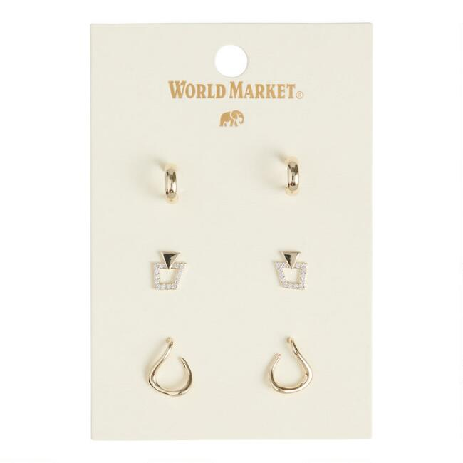 Gold Hoop, Hook And Pave Post Earrings 3 Pack
