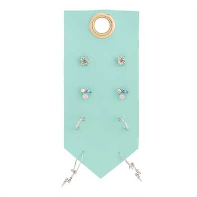 Silver And Pastel Glass Stud And Hoop Earrings 4 Pack