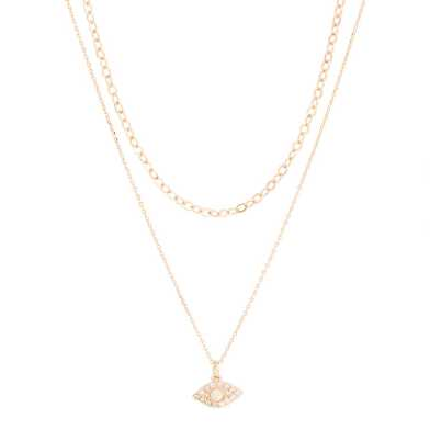 Gold Double Strand Opal Necklace 2 Pack
