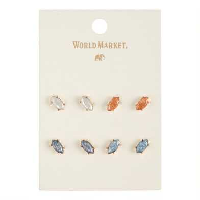 Multicolor Marquise Crackled Glass Stud Earrings 4 Pack