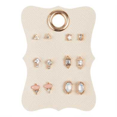Gold Multicolor Acrylic Stud Earrings 6 Pack