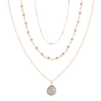 Gold Beaded Multi Chain Pendant Necklace 3 Pack