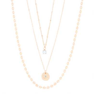 Gold Opal Multi Chain Necklace 3 Pack