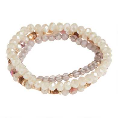 Gold Glass And Acrylic Beaded Stretch Bracelets 3 Pack
