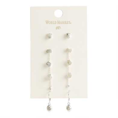 Silver Semiprecious Moonstone Drop And Stud Earrings 3 Pack
