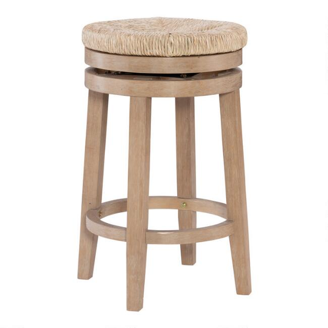 Natural Seagrass and Wood Claudia Swivel Counter Stool