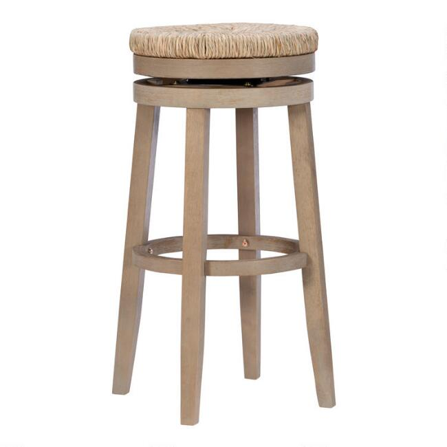 Natural Seagrass and Wood Claudia Swivel Barstool