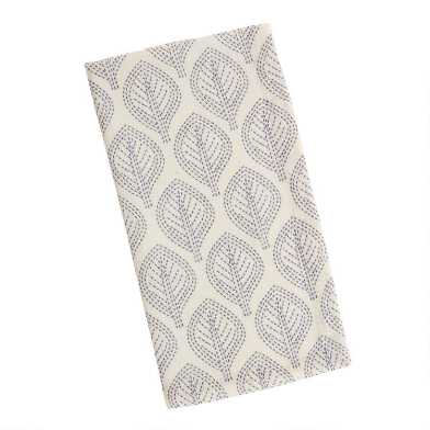 Ivory and Blue Leaf Napkins Set of 4