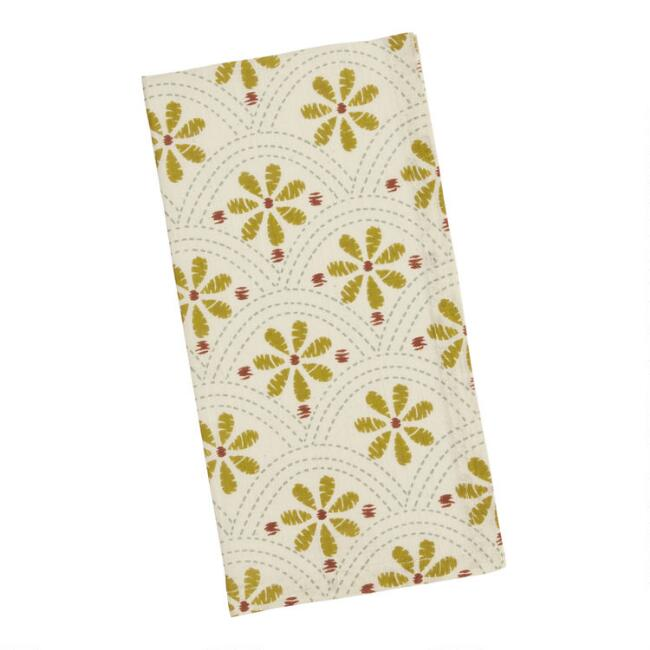 White and Yellow Daisy Napkins Set of 4