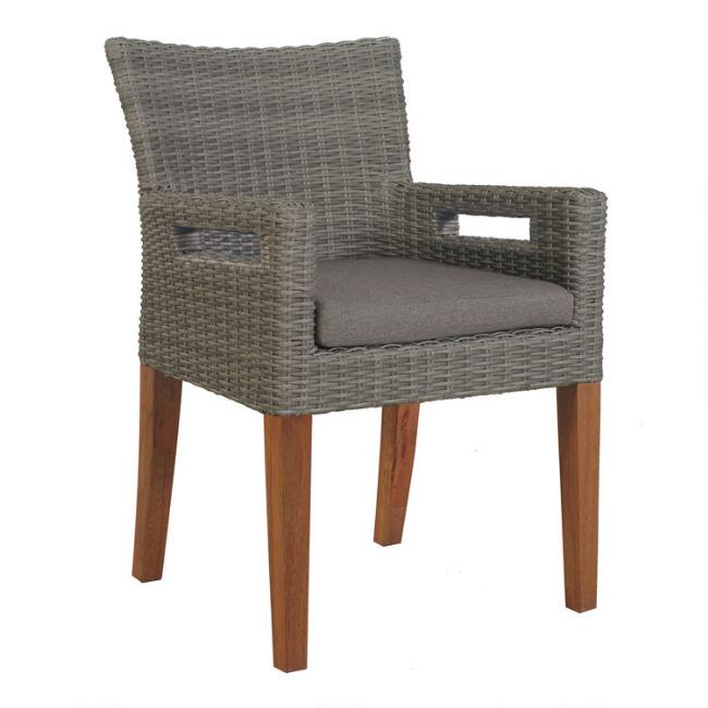 Gray All Weather Wicker Kimo Outdoor Chairs Set of 2