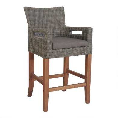 Gray All Weather Wicker Kimo Outdoor Counter Stools Set of 2