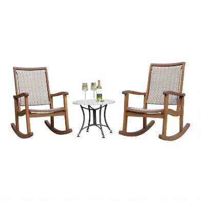 Wicker and Marble Shiloh 3 Piece Outdoor Rocking Chair Set