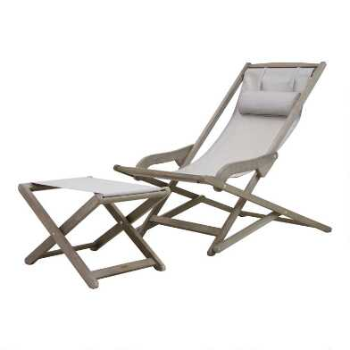 Gray Sling Yesenia Outdoor Chair With Ottoman