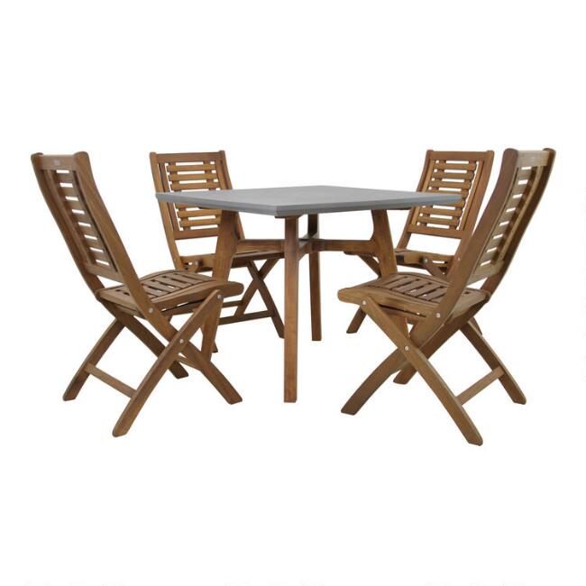 Eucalyptus and Concrete Reza 5 Piece Outdoor Dining Set