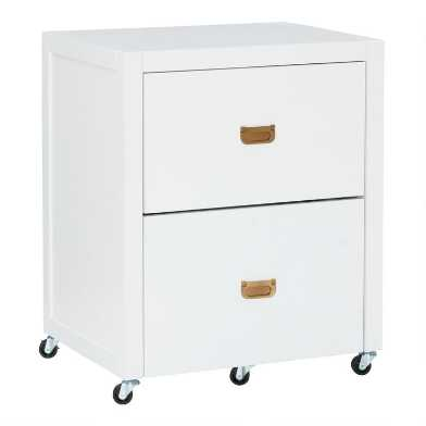 White Wood Campaign 2 Drawer Leah Rolling File Cabinet