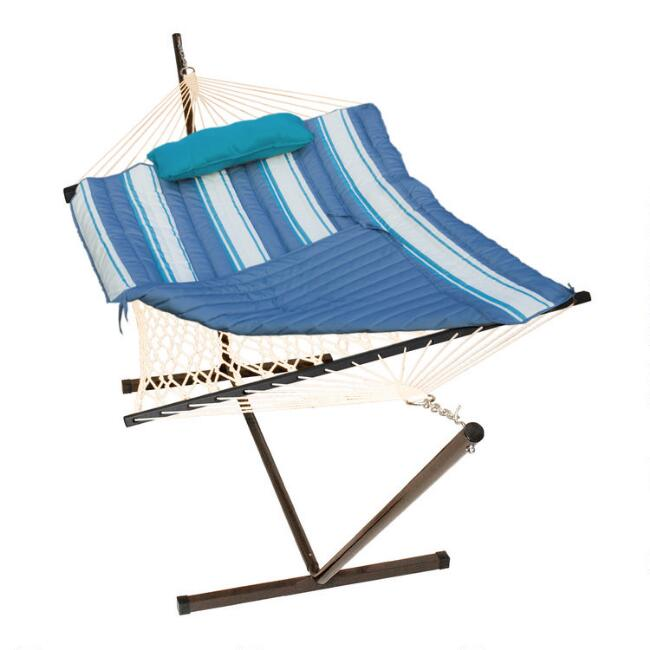 Cotton Rope Single Hammock with Teal Striped Pad and Stand