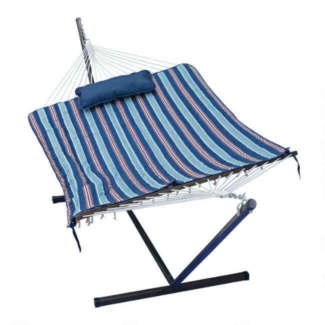 Cotton Rope Single Hammock with Blue Striped Pad and Stand