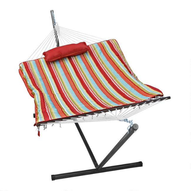 Cotton Rope Single Hammock with Red Striped Pad and Stand